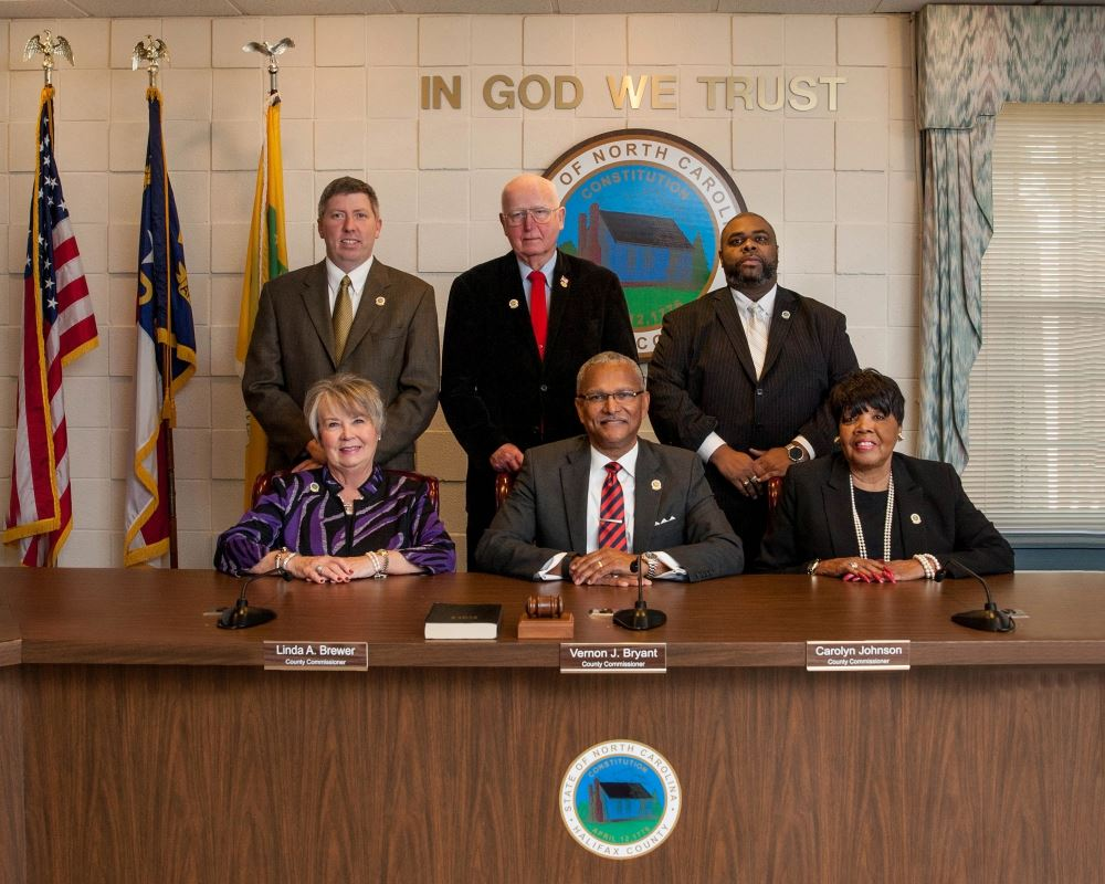 A picture of the six commissioners of the Halifax County Board of Commissioners